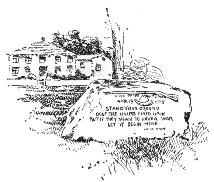 Stone in Front of the Harrington House, Lexington, Marking the Line of the Minute-Men.