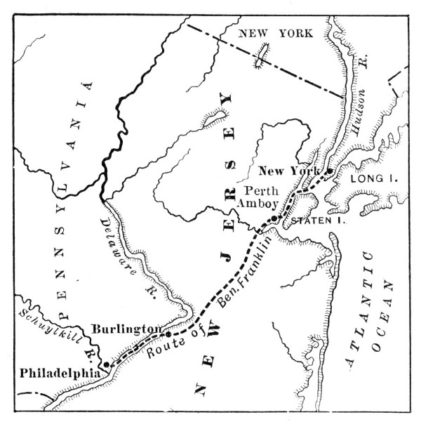 Franklin's Journey from New York to Philadelphia.