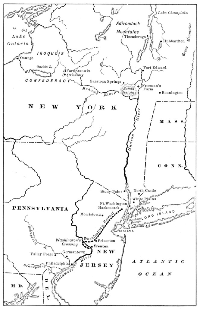 Map Illustrating the Struggle for the Hudson River and the Middle States